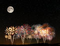 Fireworks under the sky Royalty Free Stock Photo