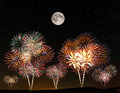 Fireworks under the starry sky Royalty Free Stock Photo