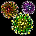 Fireworks vector illustration of on black background Royalty Free Stock Photo