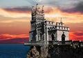Firey sunrise over the lake Royalty Free Stock Image