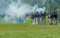 Firing guns and canon during war reenactment morrisburg canada july muskets a being fired the battle of crysler s farm on july Stock Image