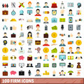 100 firm icons set, flat style