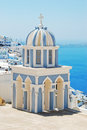 Firostefani bell tower in santorini island greece Royalty Free Stock Photography
