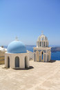 Firostefani church with bell tower in santorini island greece Stock Image