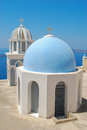 Firostefani church with bell tower in santorini island greece Royalty Free Stock Photos