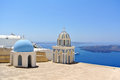Firostefani church with bell tower in santorini island greece Stock Photography