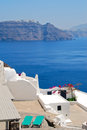 Firostefani classical greek architecture with caldera background in santorini island Royalty Free Stock Photography