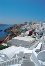 Firostefani classical greek architecture with caldera background in santorini island Royalty Free Stock Photo