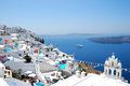 Firostefani classical greek architecture with caldera background in santorini island Stock Images