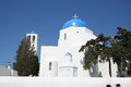 Firostefani santorini a church in village greece Royalty Free Stock Image
