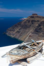 Firostefani santorini greece boat on a roof at near fira in the background is skaros rock at imerovigli Stock Photo