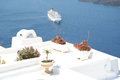 Firostefani santorini a view from village greece with a cruise ship in the distance Stock Photography