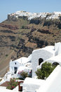 Firostefani santorini a view from village greece with a cruise ship in the distance Royalty Free Stock Photography