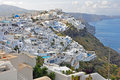 Firostefani village on greek island santorin greece Royalty Free Stock Photo