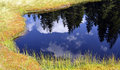 Firs reflection in the calm, blue water of a mountain lake Royalty Free Stock Photo