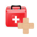 First aid box with adhesive bandage isolated on white Royalty Free Stock Photography