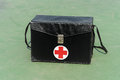 First aid box on ground Stock Photo