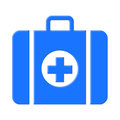 First aid box illustration of a blue or bag with a cross symbol on a white background Royalty Free Stock Image