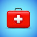First aid box illustration of on medical background Stock Photo