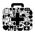 First aid box of of medical icons vector illustration Royalty Free Stock Photo