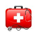 First aid box with stethoscope vector illustration of Royalty Free Stock Photo