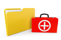 First aid case with folder on a white background Royalty Free Stock Photography