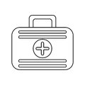 First aid case medical emergency thin line