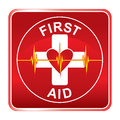First aid health symbol illustration of a icon or medical with heart and heartbeat line Stock Images