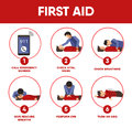 First aid instructions infographics and vector icons of medical