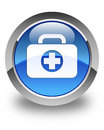 First aid kit bag icon glossy blue round button Royalty Free Stock Photo