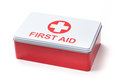 First aid kit box stock photo of isolated on white Stock Image