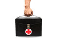 First aid kit box in white background or isolated background emergency case used aid box for support medical service black Royalty Free Stock Image