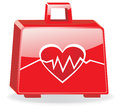 First aid kit with cardiogram isolated eps Stock Image