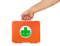 First aid kit hand of young man holding Royalty Free Stock Photos