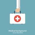 First aid kit in hands doctor medical background vector illustration flat design Stock Image