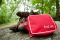 First aid kit on a hike Stock Photo