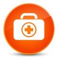 First aid kit icon elegant orange round button