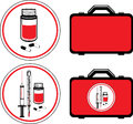 First aid kit and medical icons illustration Stock Photo