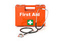 First aid kit with a stethoscope on white background Stock Image