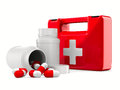 First aid kit on white background Stock Photography