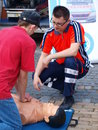 First aid lesson, Lublin, Poland Stock Image