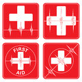 First aid medical symbols illustration of four simple health icons or with hearts and heartbeat lines in red Royalty Free Stock Photos