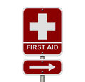 First aid sign an american road isolated on white and red with symbol and word and arrow Stock Images