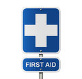 First aid sign with the symbol and word Stock Photography