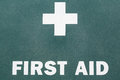 First aid a sign with a white cross Stock Image