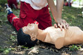 First aid training cpr dummy cardiac massage heart massage Royalty Free Stock Images
