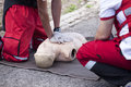 First aid training cpr practice on a dummy Royalty Free Stock Images