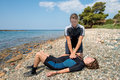 First aid training for scuba divers Royalty Free Stock Images