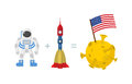 First Astronaut on moon.  American flag on moon. Space rocket an Royalty Free Stock Photo