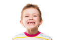 First baby milk or temporary teeth fall out little smiling boy showing his Stock Images